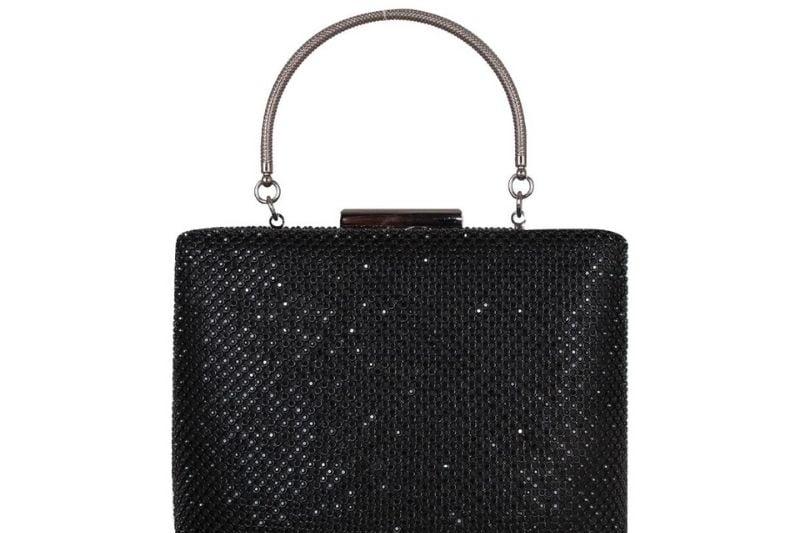 axpe kulplu taşlı abiye çanta siyah