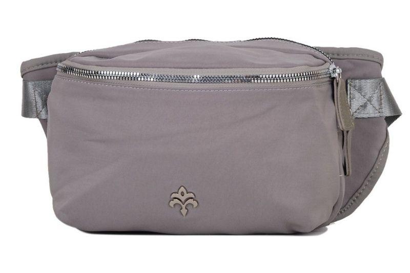 üç bölmeli açık gri kadın bel çantası