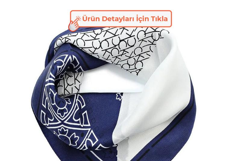 Calvin Klein Silk Logo Mix Bandana Şal Navy