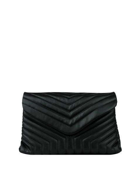 Axpe Kapaklı-Zincirli Kadın Omuz Çantası RY-0275 Parlak Siyah
