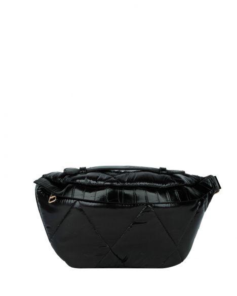 Axpe Kroko Detaylı Kadın Bel Çantası RY-0557 Siyah Rugan