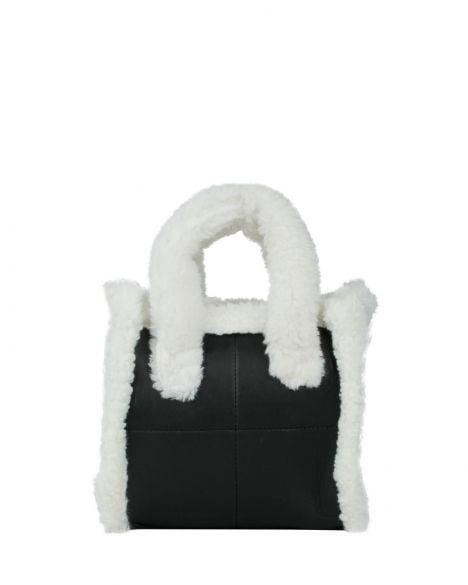 Axpe Peluş Kulp Detaylı Kadın El Çantası RY-0579 Siyah Beyaz