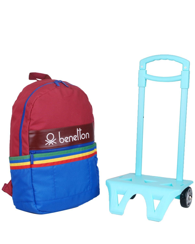 Benetton İki Bölmeli Tekerlekli Sırt Çantası 70045 Bordo - Mavi