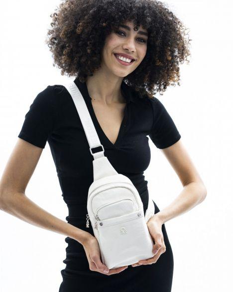 Benetton Çok Cepli Kadın Body Bag BNT433 Beyaz