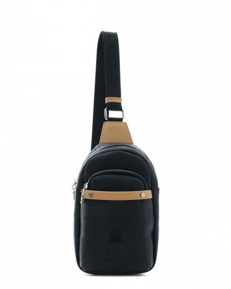Benetton Çok Cepli Kadın Body Bag BNT451 Siyah - Açık Camel