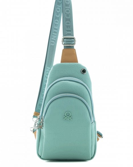 Benetton Kabartma Yüzey, İki Bölmeli Kadın Body Bag BNT458 Yeşil - Açık Camel