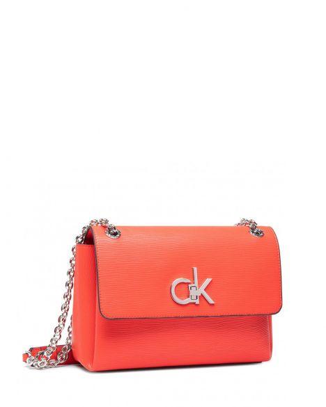 Calvin Klein Ew Conv Flap Xbody Md Eyelets Kadın Omuz Çantası K60K608067 Vibrant Coral