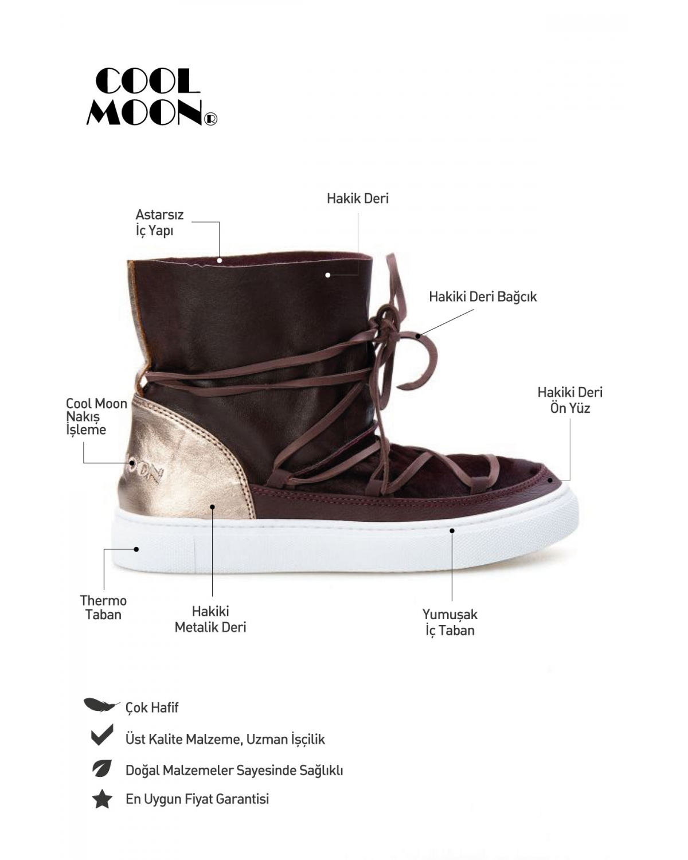 Cool Moon Hakiki Deri Tay Tüyü Sneaker Cm1020 DERCM1020 Bordo