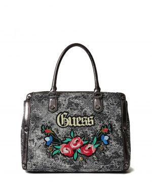 Guess Badlans Embroidered Demin Kadın Çantası DM699206 Black Denim