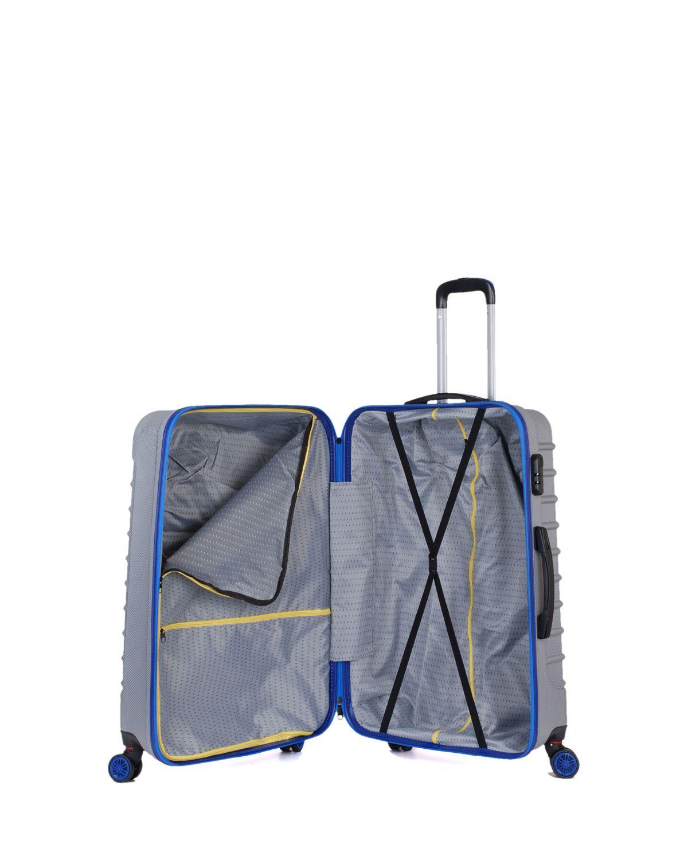My Luggage Renkli Fermuar Detaylı Büyük Boy Valiz 1MY0101343 Gümüş - Mavi