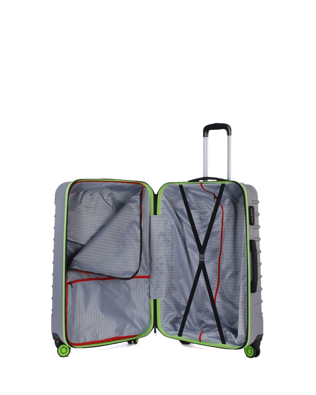 My Luggage Renkli Fermuar Detaylı Büyük Boy Valiz 1MY0101343 Gümüş - Yeşil