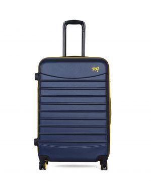 My Luggage Renkli Fermuar Detaylı Büyük Boy Valiz 1MY0101343 Lacivert - Sarı