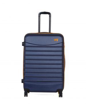My Luggage Renkli Fermuar Detaylı Büyük Boy Valiz 1MY0101343 Lacivert - Turuncu