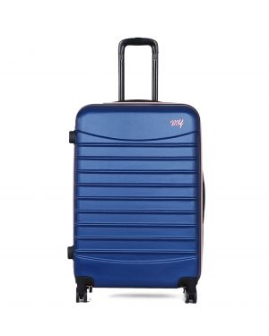 My Luggage Renkli Fermuar Detaylı Büyük Boy Valiz 1MY0101343 Mavi - Pudra