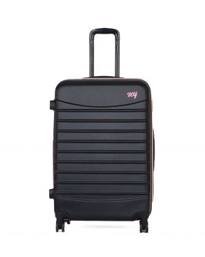 My Luggage Renkli Fermuar Detaylı Büyük Boy Valiz 1MY0101343 Siyah - Pudra