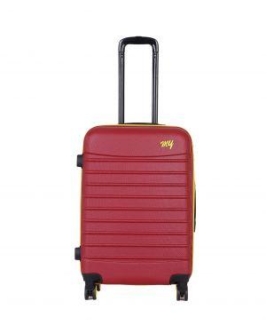 My Luggage Renkli Fermuar Detaylı Orta Boy Valiz 1MY0101343 Bordo - Sarı