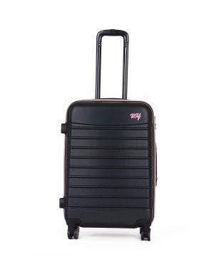 My Luggage Renkli Fermuar Detaylı Orta Boy Valiz 1MY0101343 Siyah - Pudra