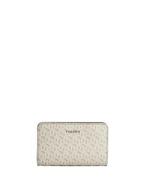 Tommy Hilfiger Iconic Tommy Med Half Za Mono Kadın Cüzdanı AW0AW08379 Stone Monogram