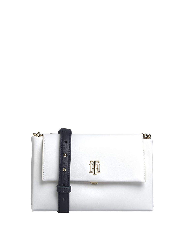 Tommy Hilfiger Modern Crossover Çapraz Askılı Kadın Çantası AW0AW08228 Bright White / Navy Mix