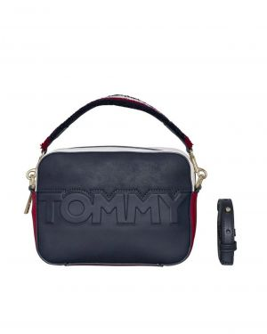 Tommy Logo Çapraz Kadın Çantası  Lacivert - Kırmızı - Beyaz