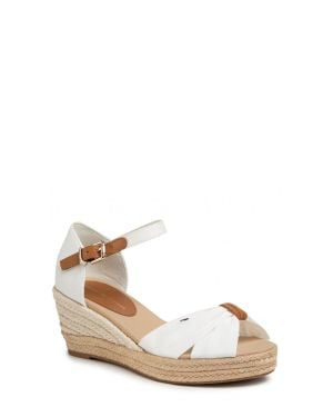 Basic Open Toe Mid Wedge Kadın Sandalet  Ivory