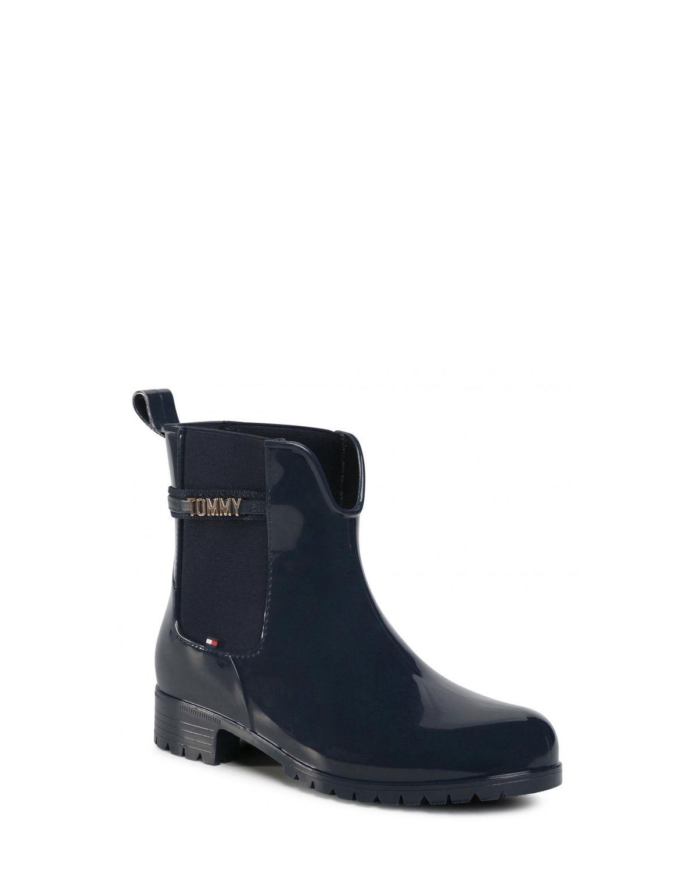 Tommy Hilfiger Block Branding Rainboot Kadın Yağmur Botu FW0FW05202 Navy Blue