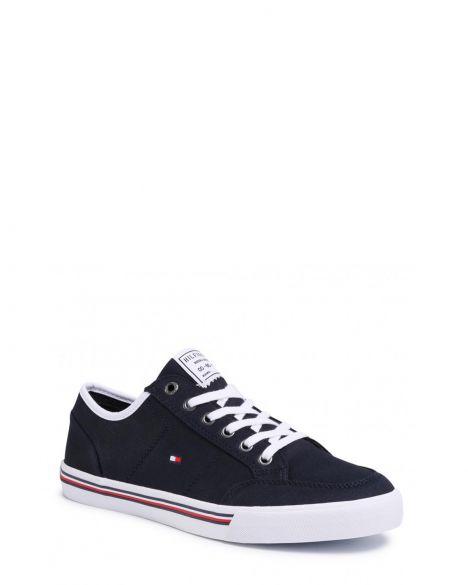 Tommy Hilfiger Core Corporate Textile Sneaker Erkek Ayakkabı FM0FM02676 Navy Blue