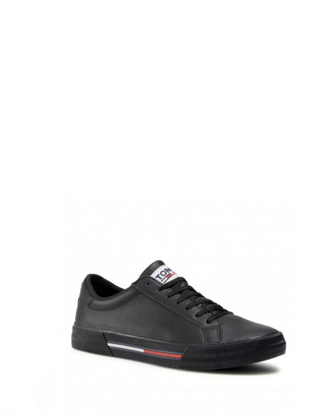 Tommy Hilfiger Essential Leather Erkek Sneakers EM0EM00567 Black