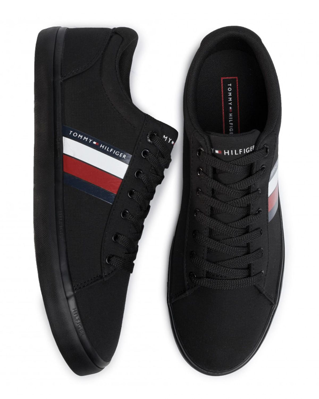 Tommy Hilfiger Essential Stripes Detail Sneaker Sneaker Erkek Ayakkabı FM0FM02685 Black