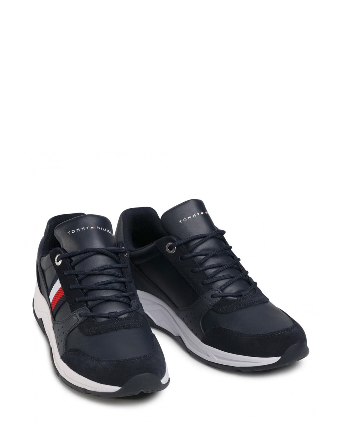 Tommy Hilfiger Fashion Leather Runner Sneakers FM0FM03084 Navy Blue