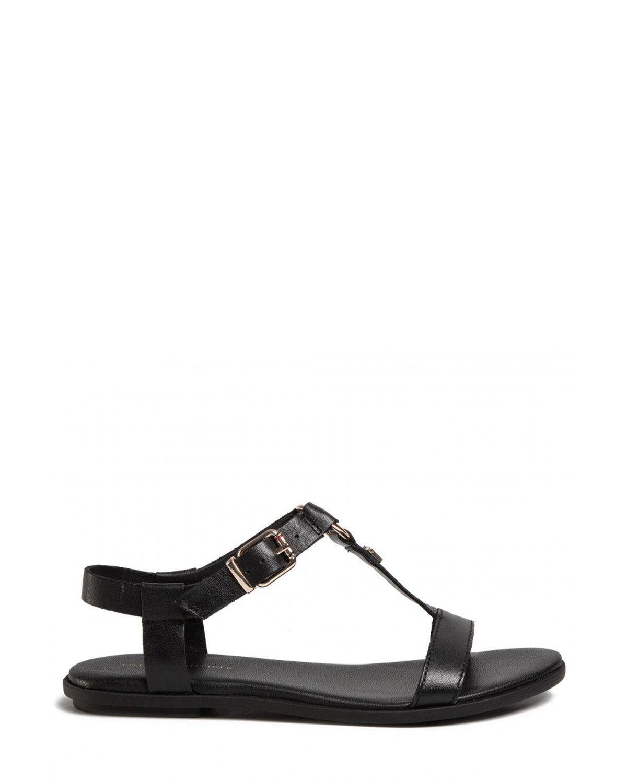 Tommy Hilfiger Feminine Leather Flat Sandal Kadın Sandalet FW0FW04882 Black