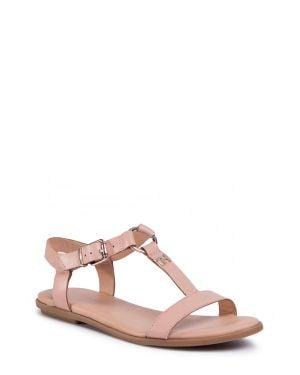 Tommy Hilfiger Feminine Leather Flat Sandal Kadın Sandalet FW0FW04882 Beıge