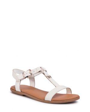 Tommy Hilfiger Feminine Leather Flat Sandal Kadın Sandalet FW0FW04882 Ivory