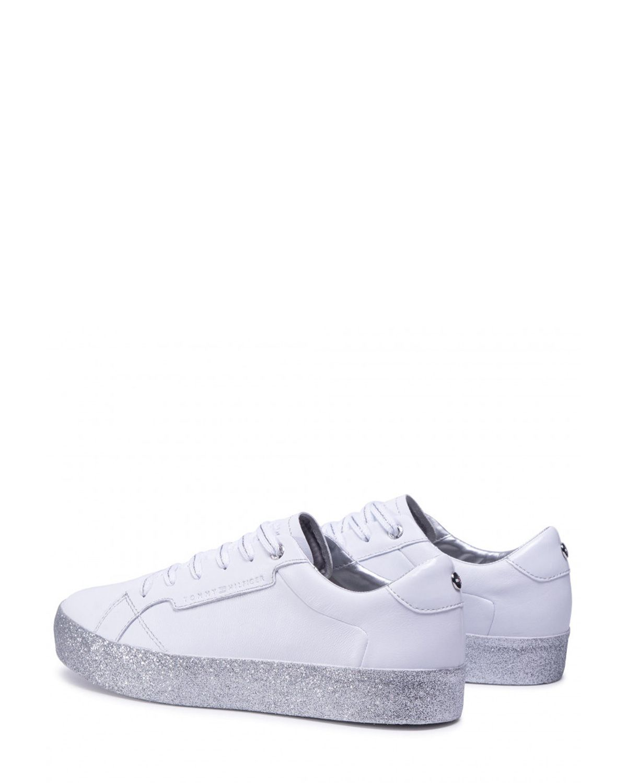 Tommy Hilfiger Glitter Foxing Dress Sneaker Kadın Ayakkabı FW0FW04849 White