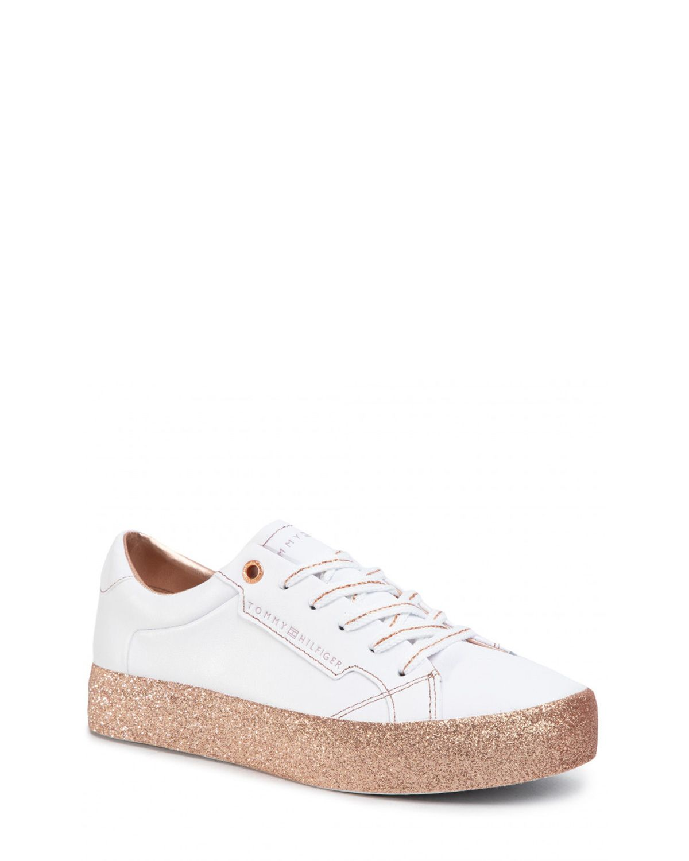 Tommy Hilfiger Glitter Foxing Dress Sneaker Kadın Ayakkabı FW0FW04849 White Gold