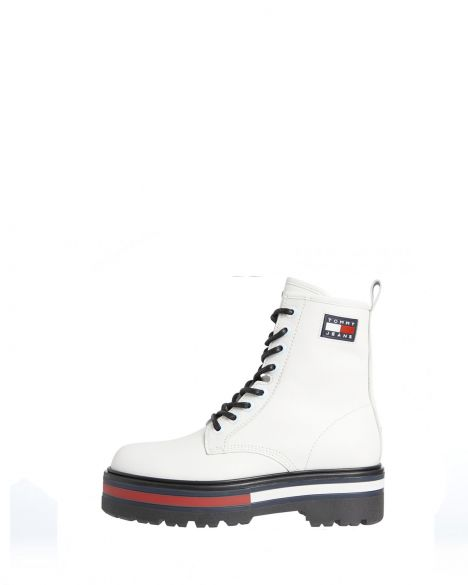 Tommy Hilfiger Iridescent Eyelets Lace Up Boot Kadın EN0EN01580 White