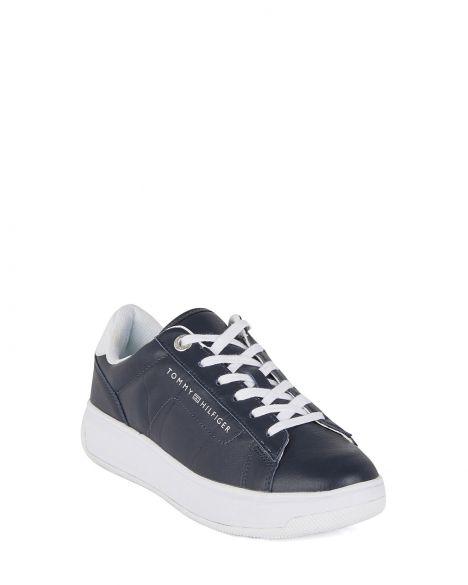 Tommy Hilfiger Leather Cupsole Kadın Sneaker FW0FW05009 Desert Sky