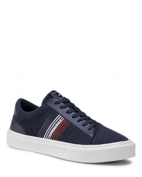 Tommy Hilfiger Lightweight Stripes Knit Erkek Sneaker FM0FM02836 Blue / Corporate