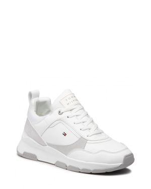 Sporty Chunky Leather Sneakers  White