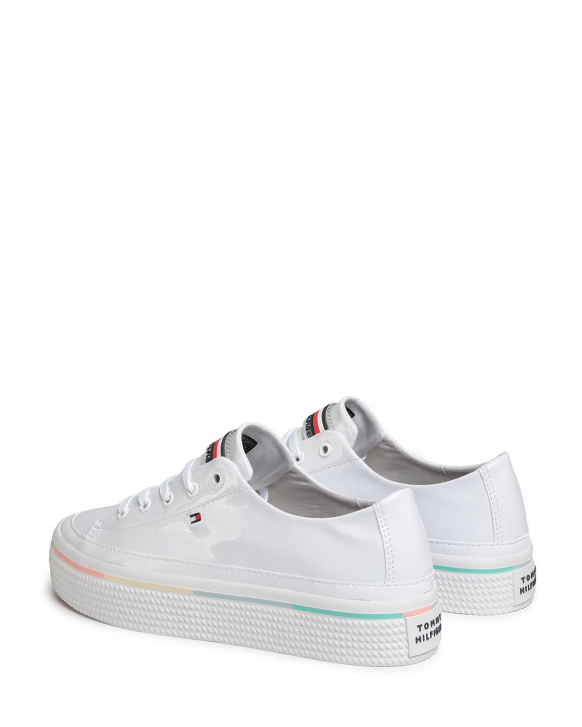 Tommy Hilfiger Striped Flatform Sneakers FW0FW04710 White