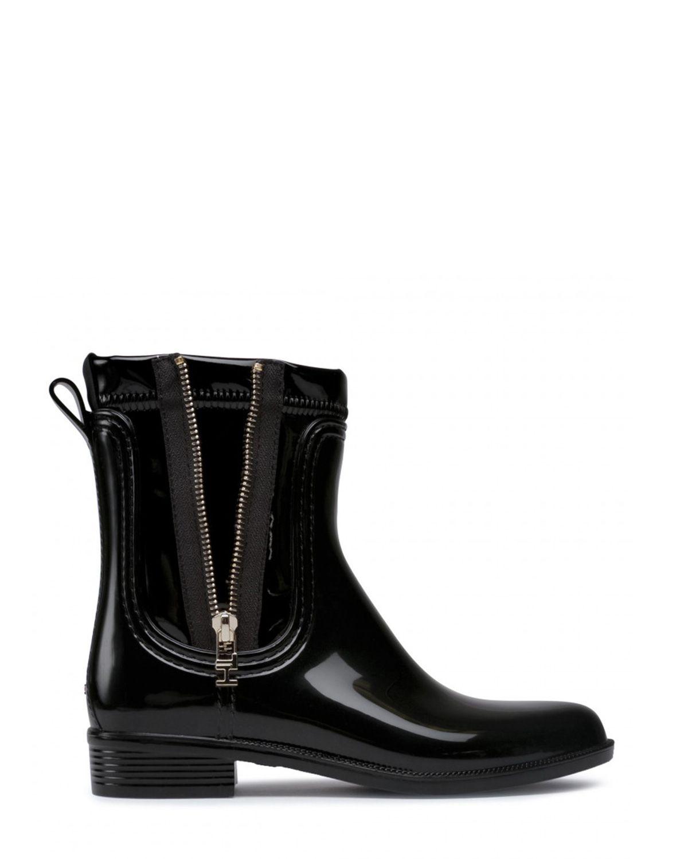 Tommy Hilfiger Tommy Glossy Rainboot Kadın Yağmur Botu FW0FW05180 Black