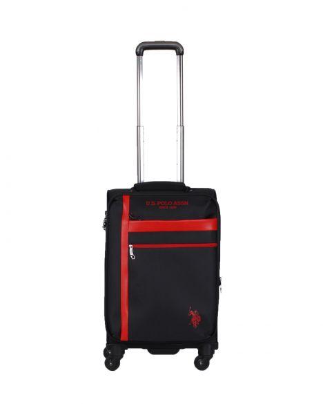 Us Polo Assn . Şerit Detaylı Kabin Boy Valiz PLVLZ20229C Siyah