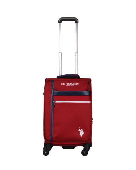 Us Polo Assn . Şerit Detaylı Kabin Boy Valiz PLVLZ20230C Bordo