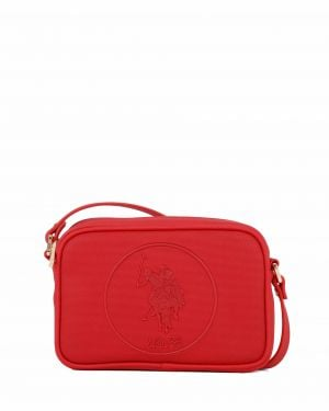 Us Polo Assn Kabartma Logolu Çapraz Kadın Çantası US19405 Kırmızı